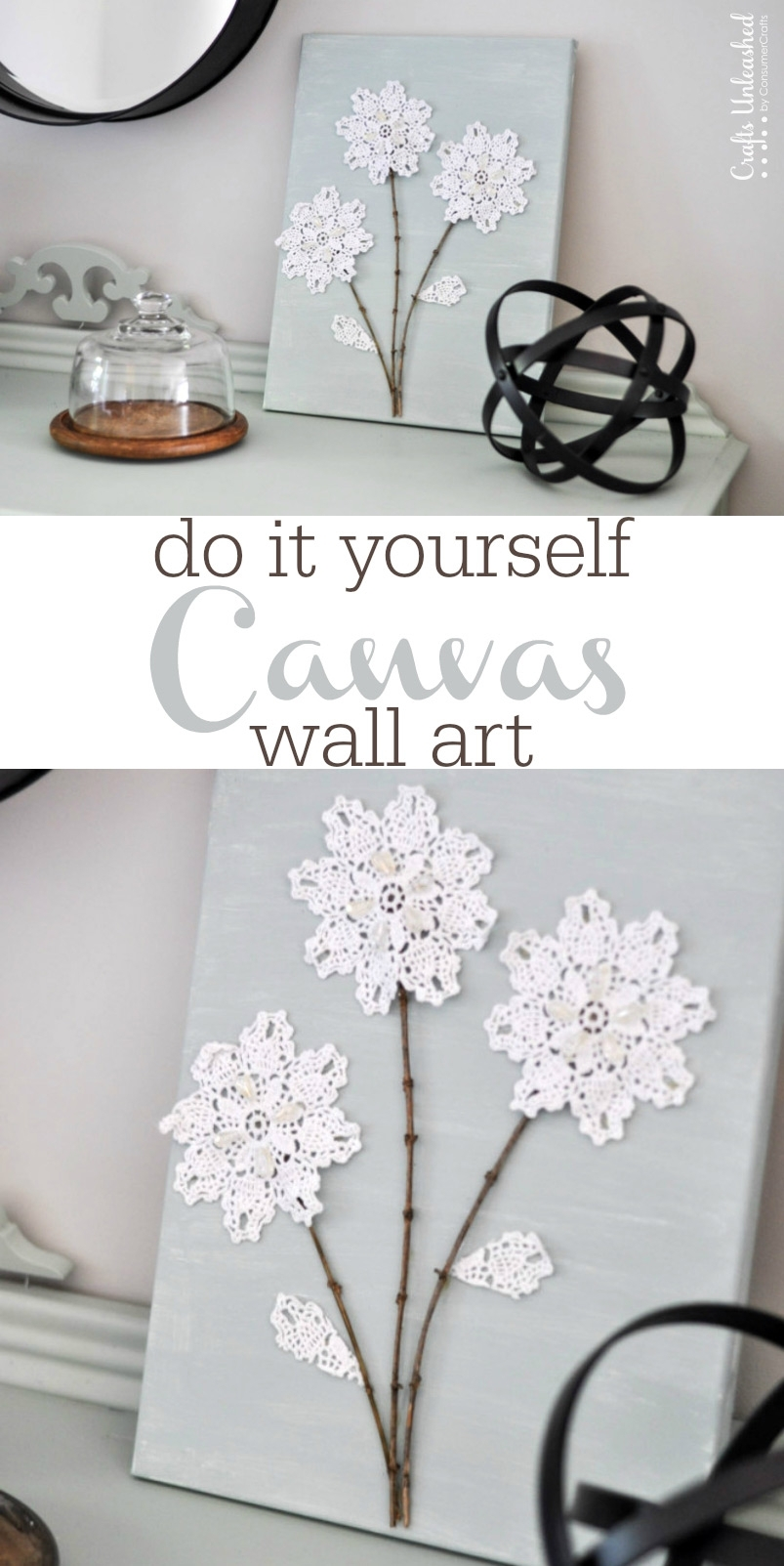 Diy Canvas Wall Art: Shabby Chic Flowers – Crafts Unleashed In Current Diy Canvas Wall Art (View 7 of 15)