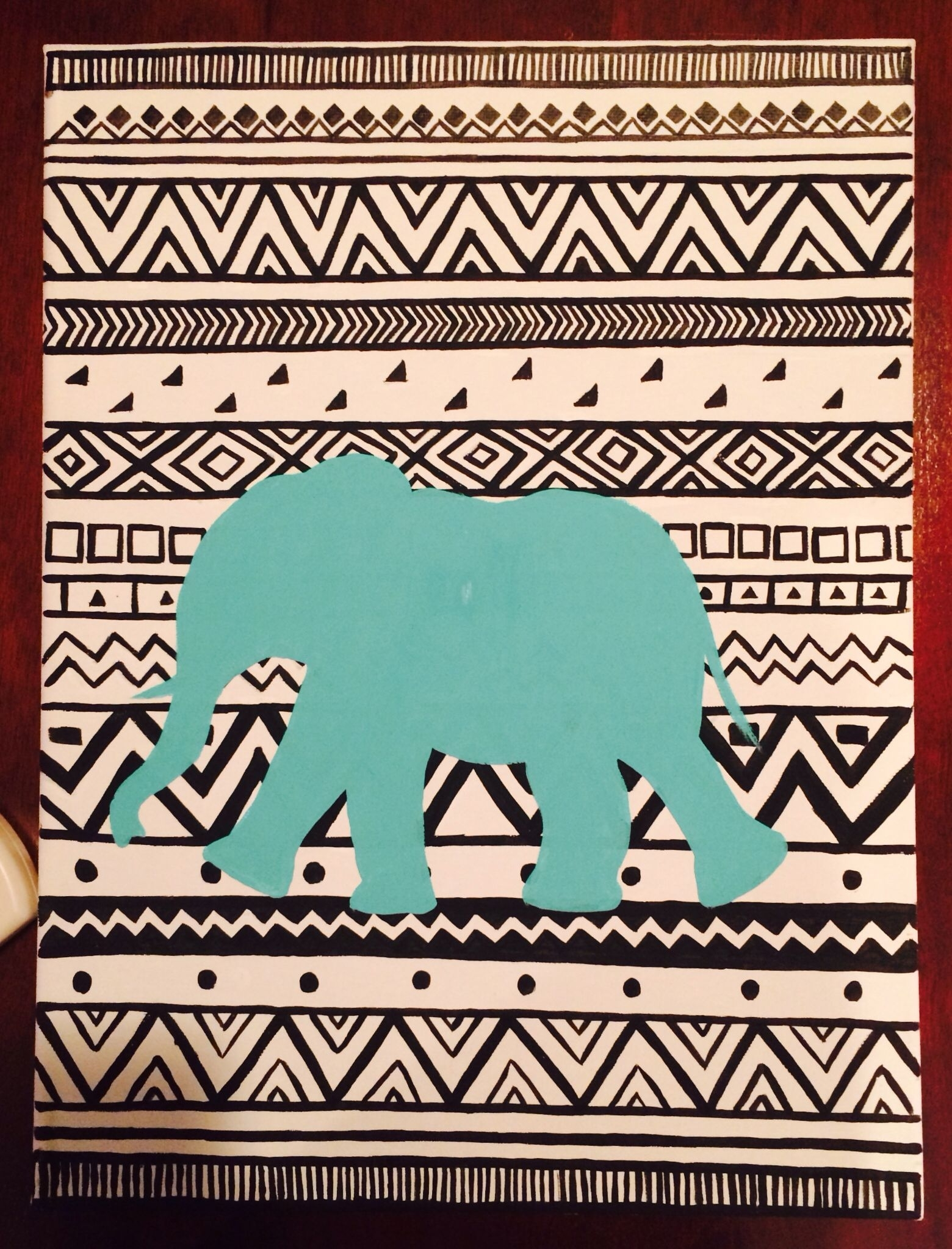 Diy College Dorm Decor, Tribal Elephant Canvas Art | Room Regarding Most Recent Aztec Fabric Wall Art (View 5 of 15)