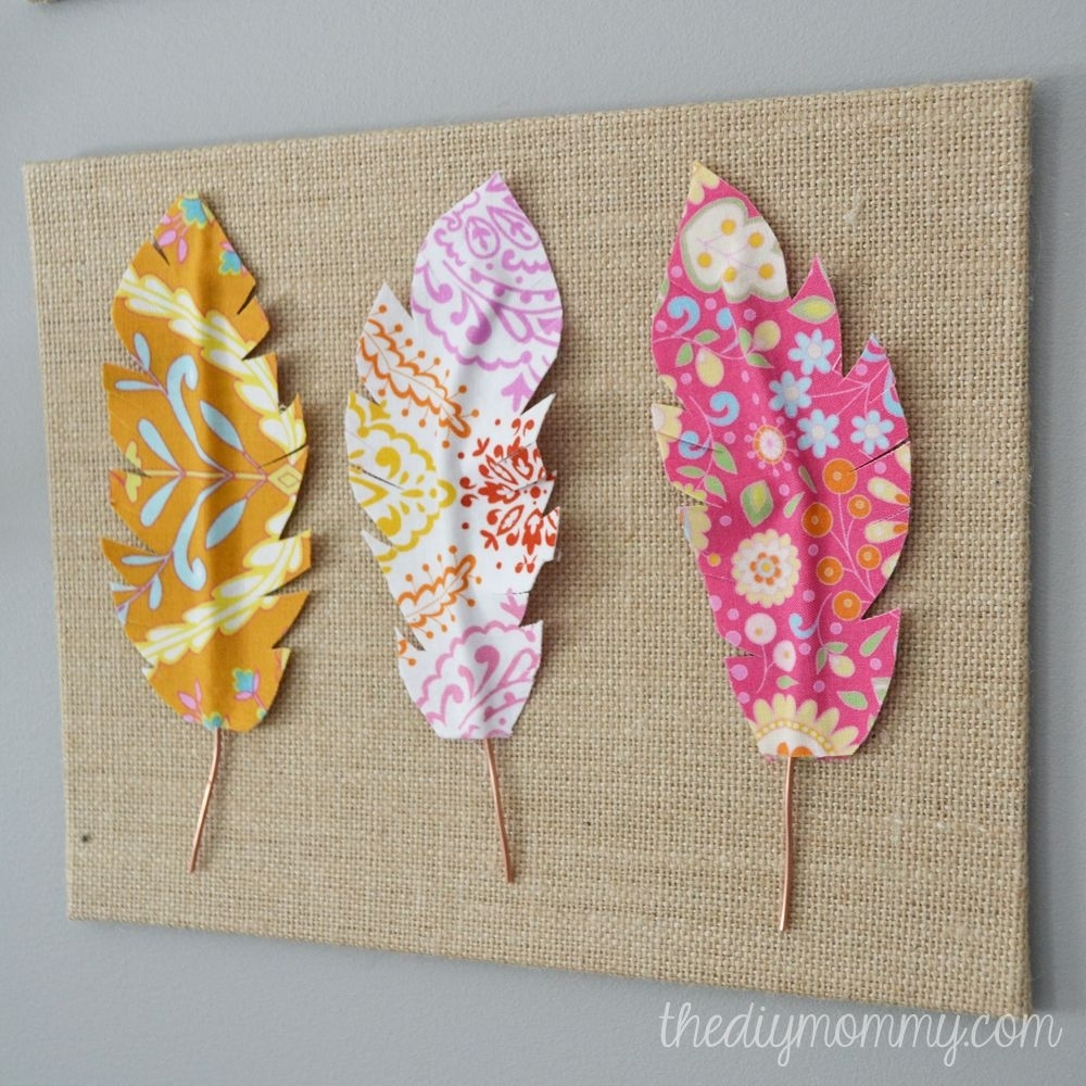 Diy Fabric Feather Wall Art – Just Use Wire, Fabric, & Some Heat Within Best And Newest Fabric Scrap Wall Art (View 4 of 15)