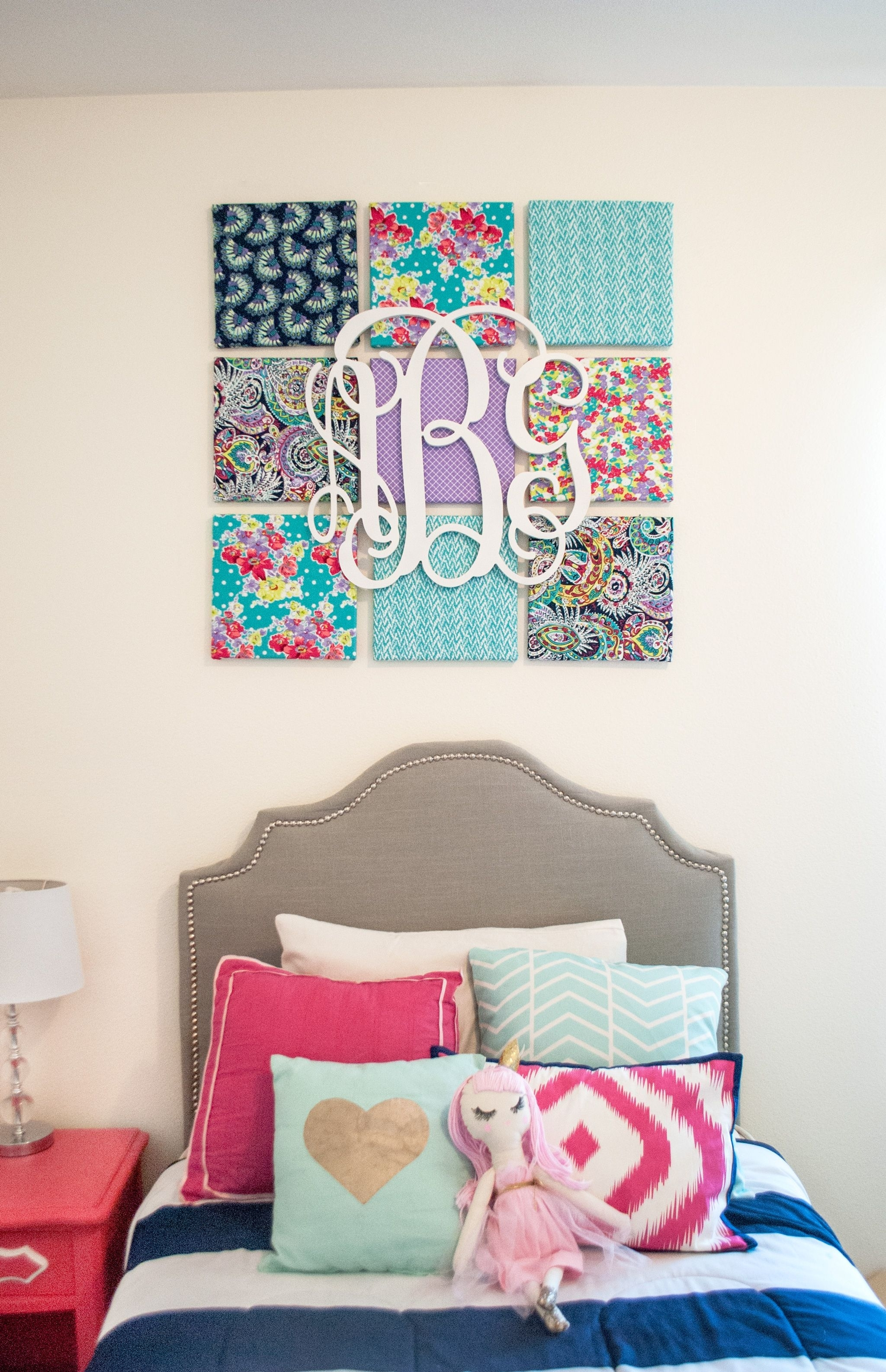 Diy Fabric Wall Art | Monogram Wall, Kids Rooms And Monograms Regarding 2017 Fabric Covered Squares Wall Art (Gallery 3 of 15)