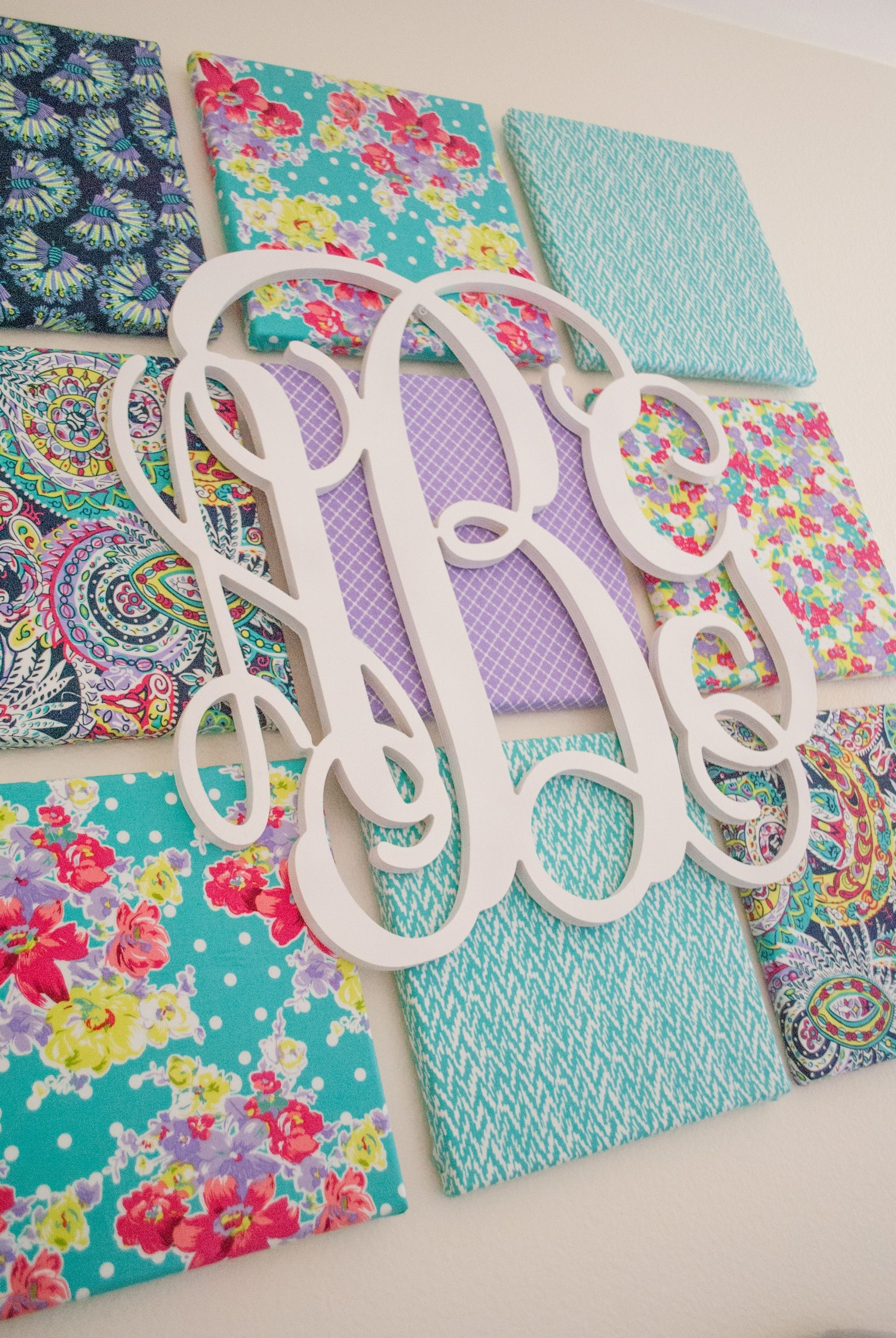 Diy Fabric Wall Art | Monogram Wall, Kids Rooms And Monograms within Most Current Fabric Covered Squares Wall Art