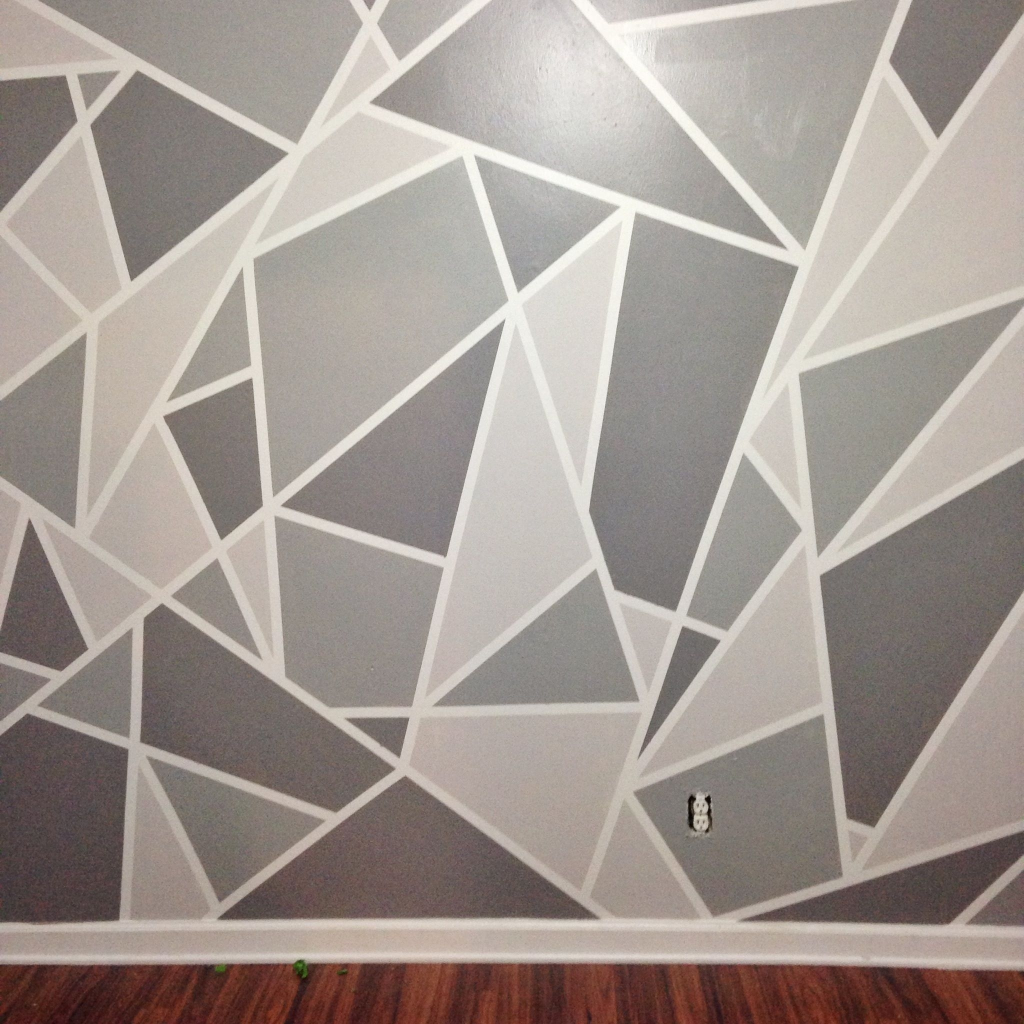 Diy Faux Wallpaper Accent Wall Statement Wall Diy Wallpaper | Gray In 2018 Geometric Shapes Wall Accents (Gallery 1 of 15)