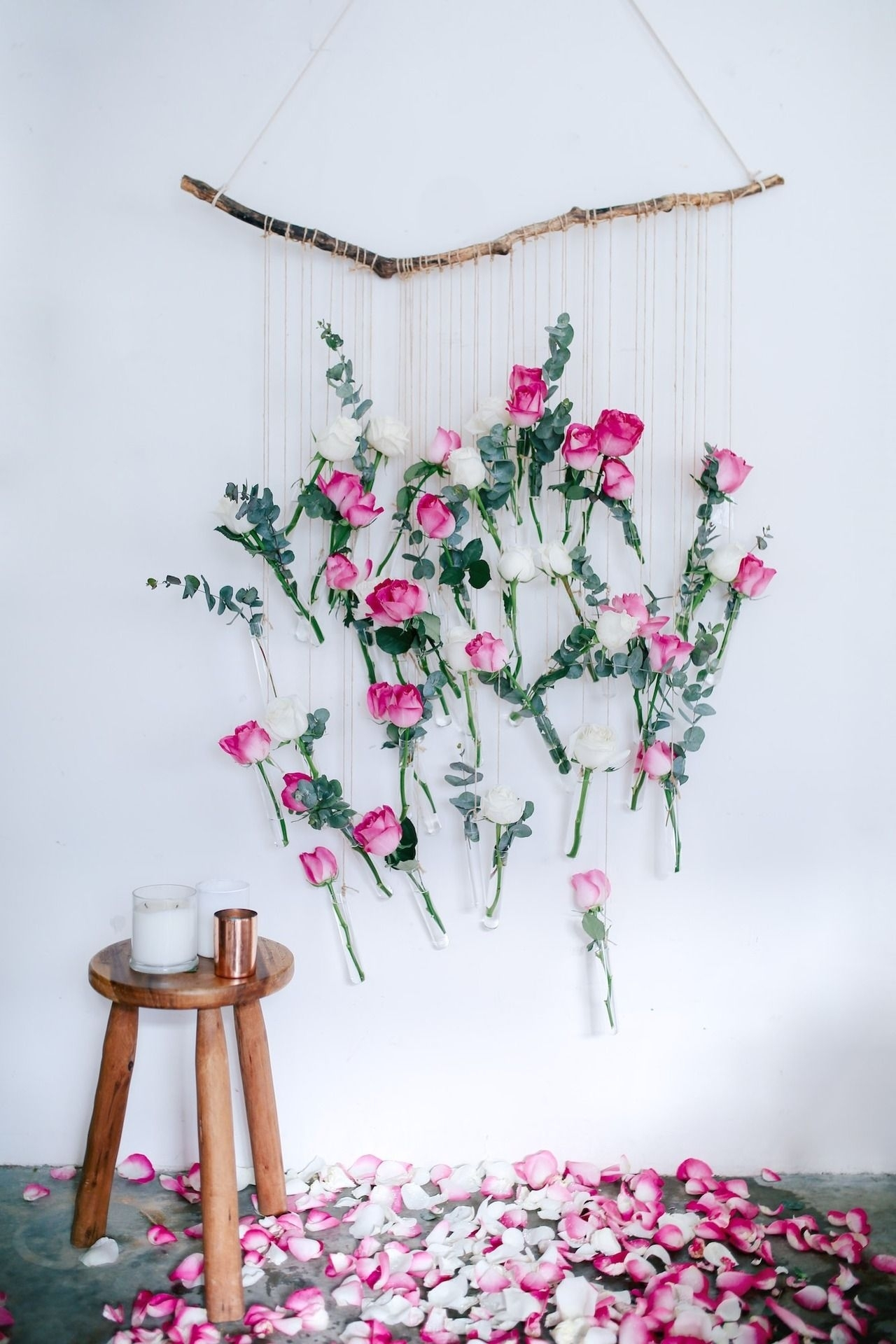 Diy Floral Vase Wall Hanging (Using Rose And Eucalyptus!) | Blog Throughout Current Flowers Wall Accents (Gallery 1 of 15)