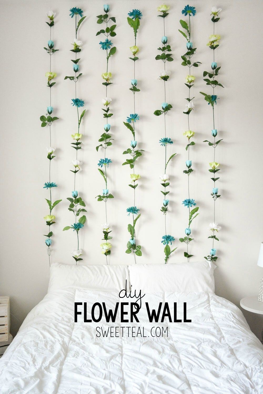 Diy Flower Wall // Headboard // Home Decor | Wall Headboard, Diy In Most Popular Diy Wall Accents (View 8 of 15)
