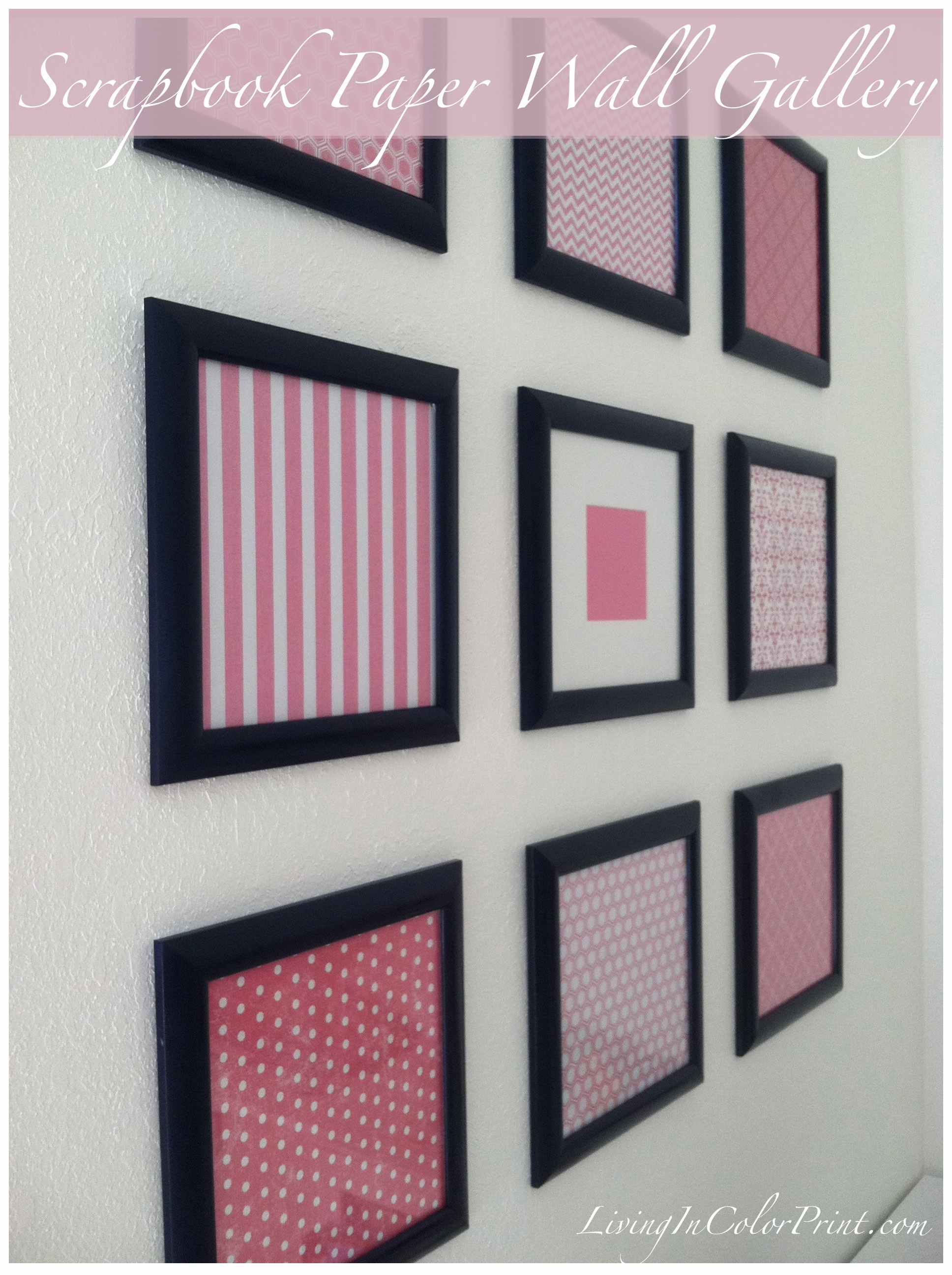 Diy Framed Scrapbook Paper Gallery Wall | Crafy/diy. | Pinterest Intended For 2018 Diy Framed Fabric Wall Art (Gallery 14 of 15)