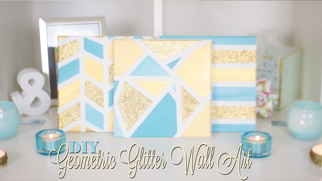 Diy Geometric Glitter Canvas Wall Art | Nekkoart – Youtube Pertaining To Recent Glitter Canvas Wall Art (View 3 of 15)