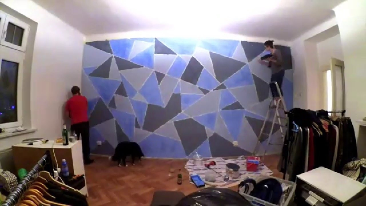 Diy Geometric Wall Painting – Youtube Within Most Current Geometric Shapes Wall Accents (View 2 of 15)