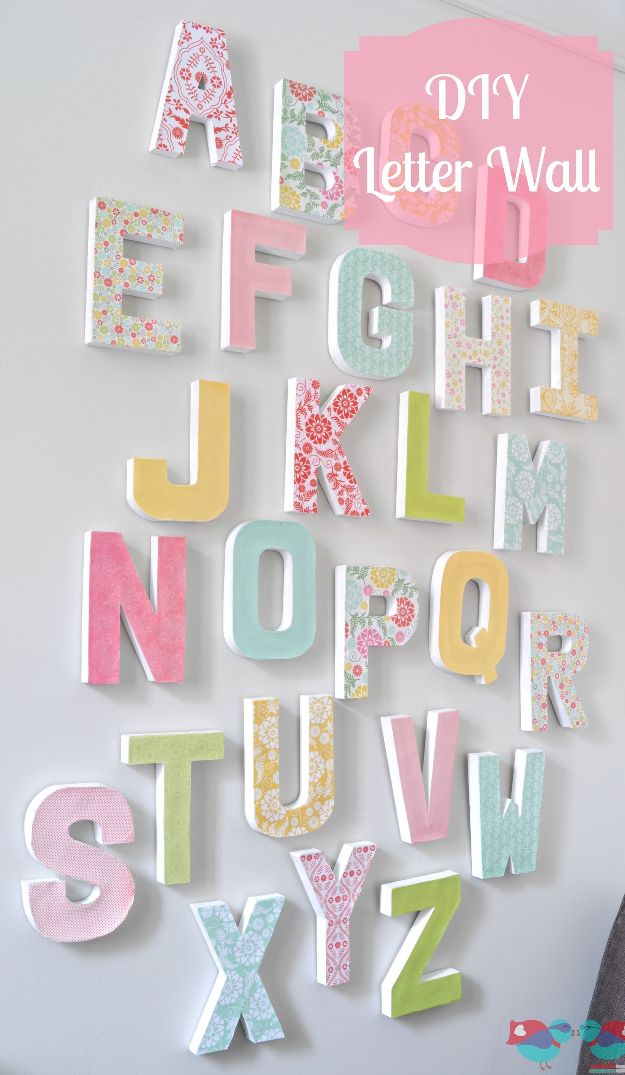 Diy Letter Wall Decor | Diy Letters, Letter Wall And Letter Wall Art Throughout 2017 Fabric Wall Art Letters (View 3 of 15)