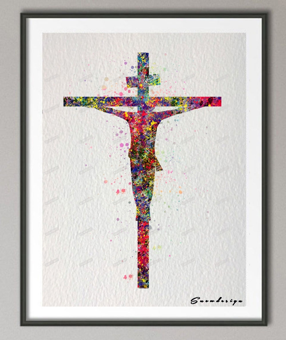 Diy Original Watercolor Jesus On The Cross Canvas Painting Pop Regarding Latest Jesus Canvas Wall Art (View 7 of 15)
