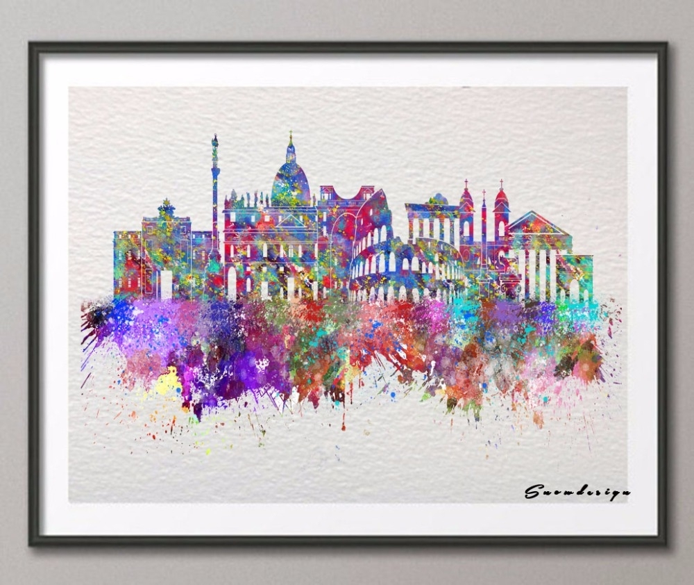 Diy Original Watercolor Rome Skyline Canvas Painting Pop Wall Art Regarding Most Current Canvas Wall Art Of Rome (View 8 of 15)