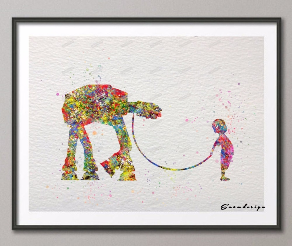 Diy Original Watercolor Star Wars Robot With Girl Canvas Painting For Newest Robot Canvas Wall Art (View 3 of 15)