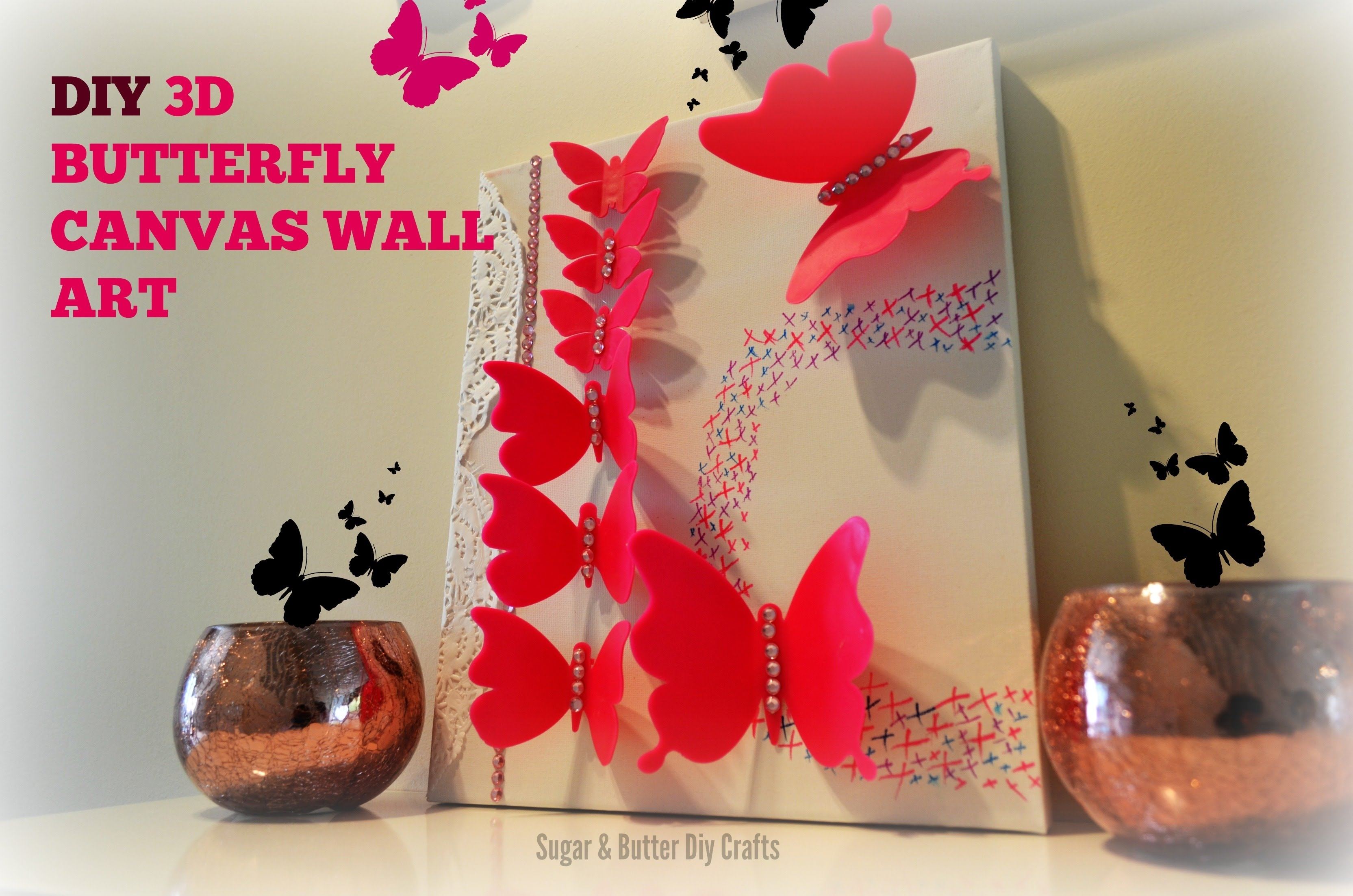 Diy Room Decor 3D Butterflies Wall Canvas Perfect For Girls Or With 2017 Butterflies Canvas Wall Art (View 7 of 15)