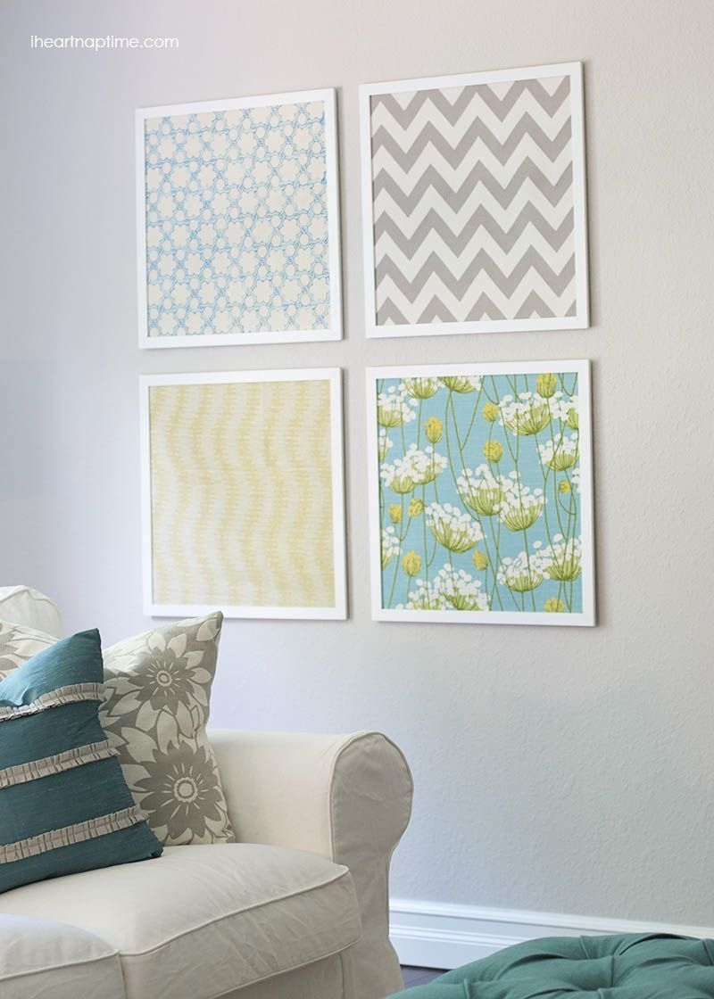 Diy Shoestring Wall Art Ideas | Fabric Art, Fabric Wall Art And For Latest Fabric Covered Squares Wall Art (View 3 of 15)