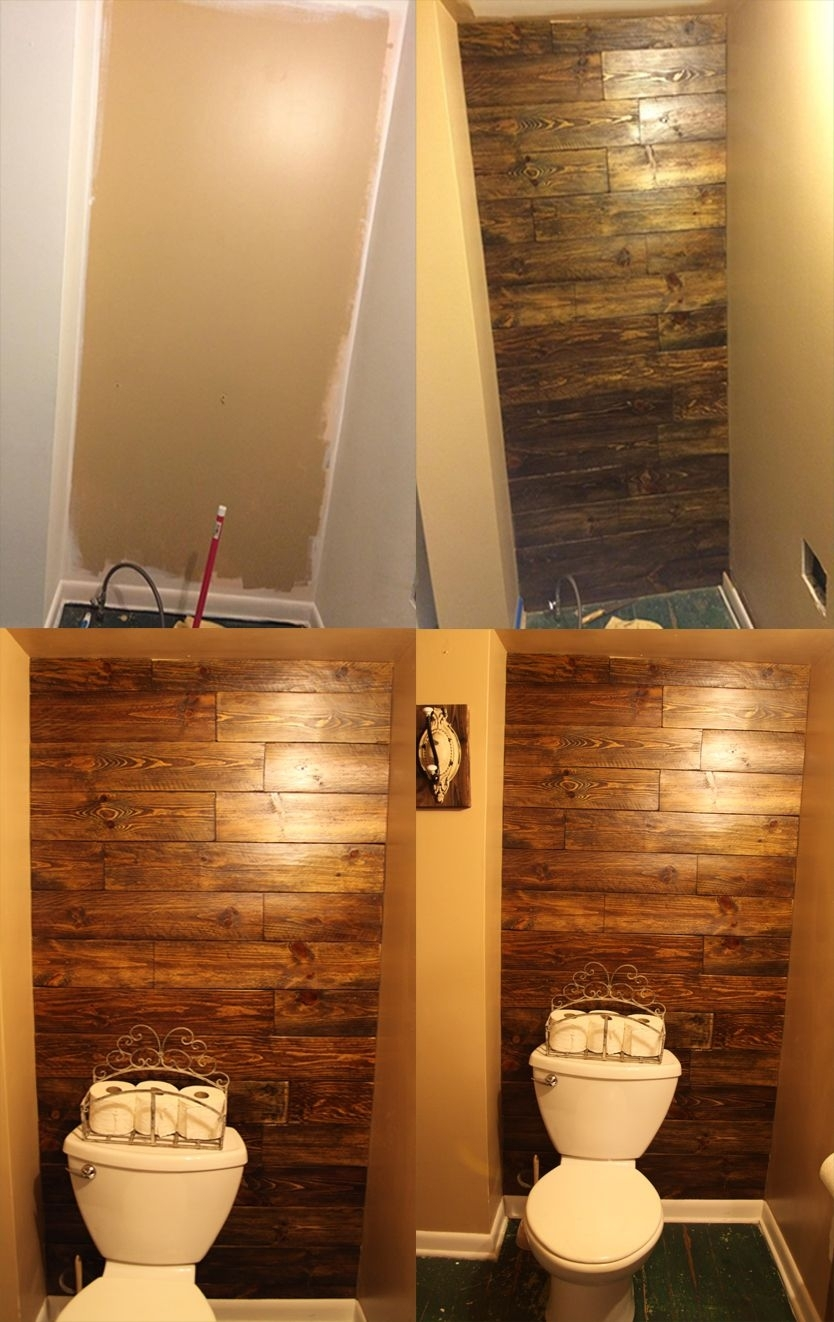 Diy Stained Wood Behind The Toilet Accent Wall (View 6 of 15)
