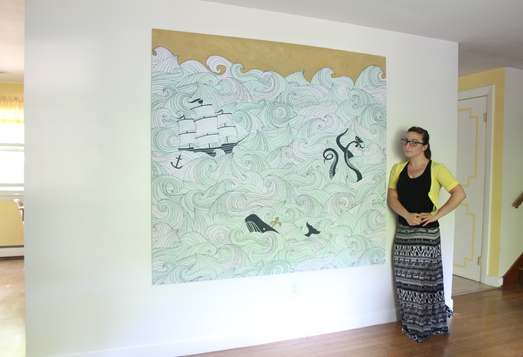 Diy Stretched Fabric Canvas (With A Shower Curtain!) | Stephanie Regarding Latest Large Fabric Wall Art (View 3 of 15)