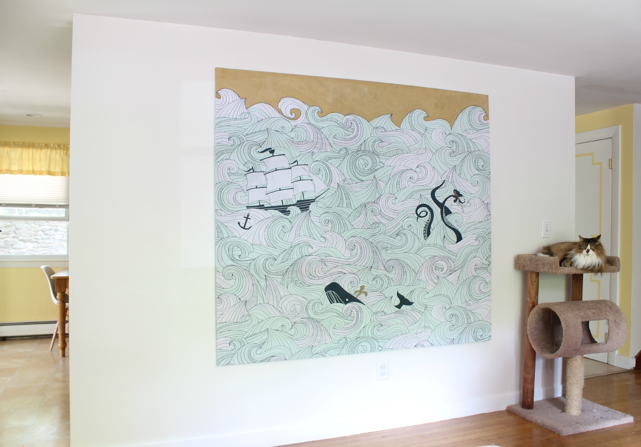 Diy Stretched Fabric Canvas (With A Shower Curtain!) | Stephanie With Regard To Most Recently Released Large Fabric Wall Art (View 6 of 15)