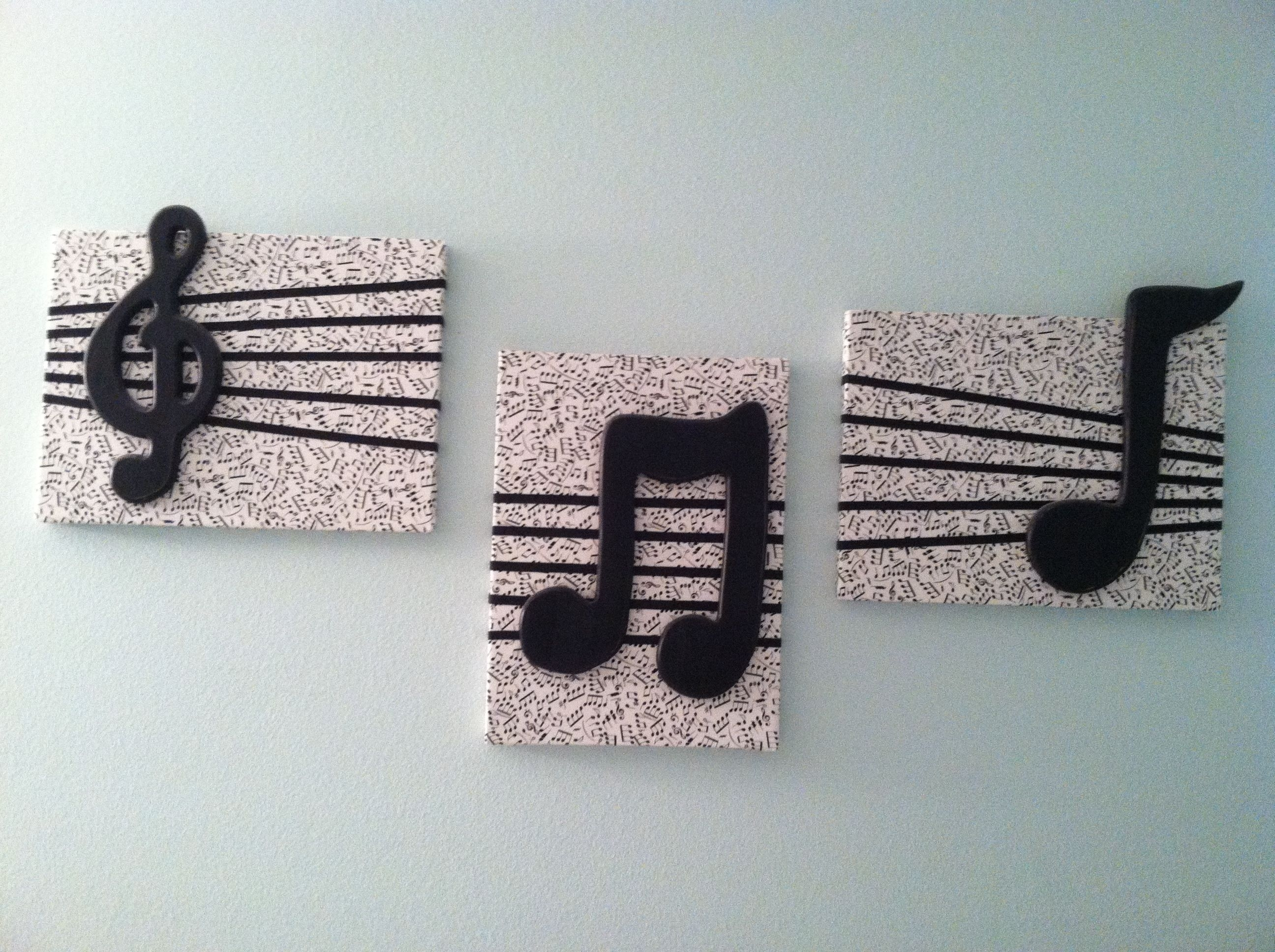 Diy Wall Decor  Cover Canvas Squares With Music Note Fabric, Add Pertaining To Most Up To Date Fabric Covered Squares Wall Art (View 4 of 15)