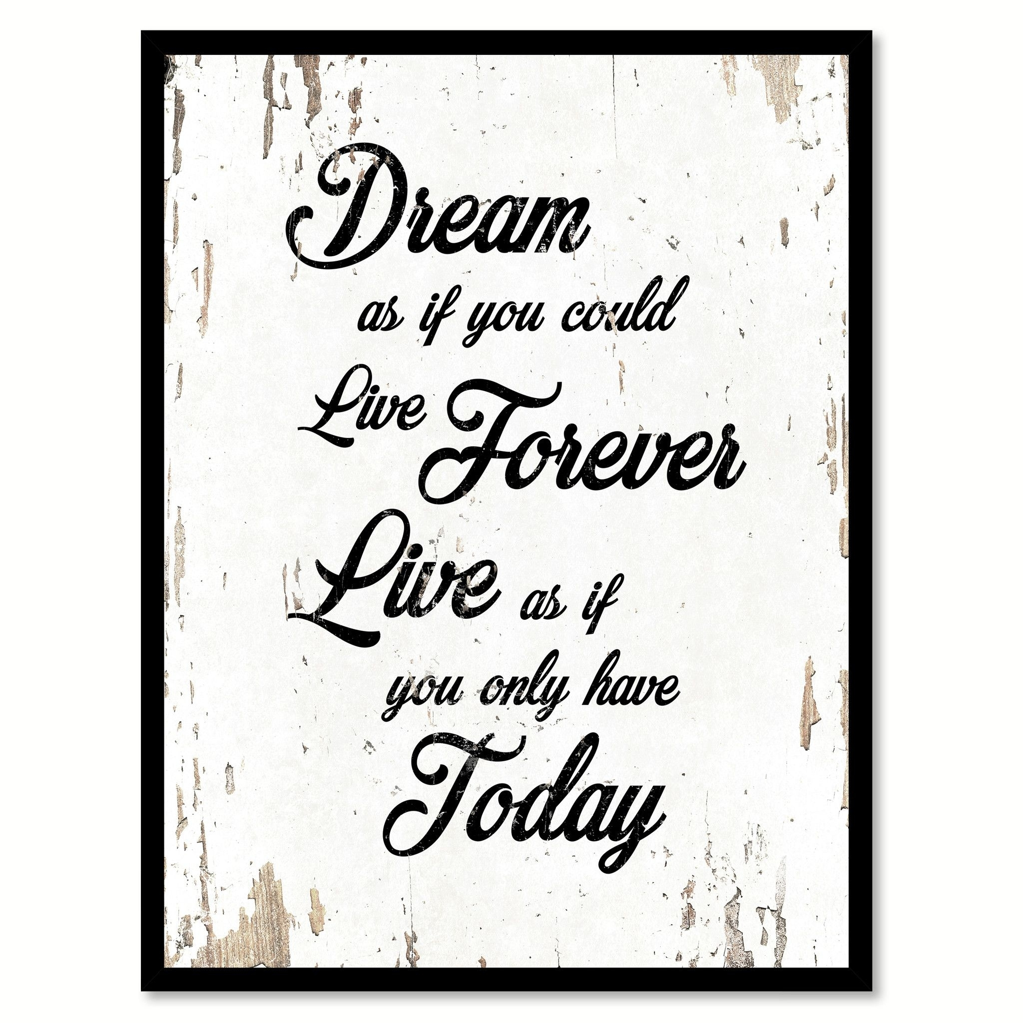 Dream As If You Could Live Forever Motivation Quote Saying Gift with regard to Most Current Inspirational Quote Canvas Wall Art