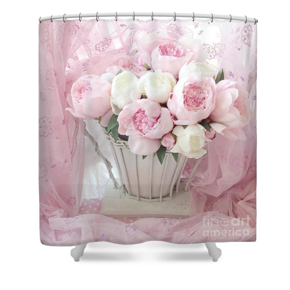 Dreamy Shabby Chic Basket Of Pink And White Peonies – Vintage Pink Within Most Recently Released Shabby Chic Framed Art Prints (View 4 of 15)