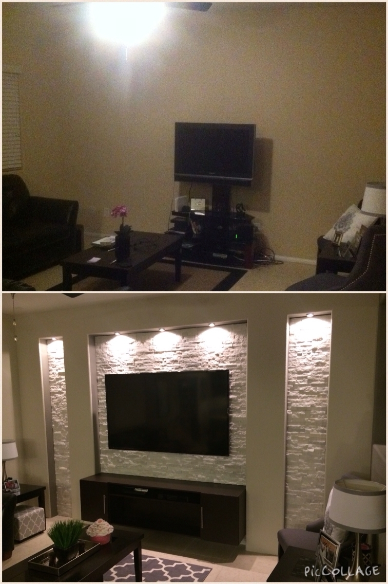 Drywall Stone Veneer Accent Wall. Las Vegas. | Home Ideas Inside Recent Wall Accents For Media Room (Gallery 2 of 15)