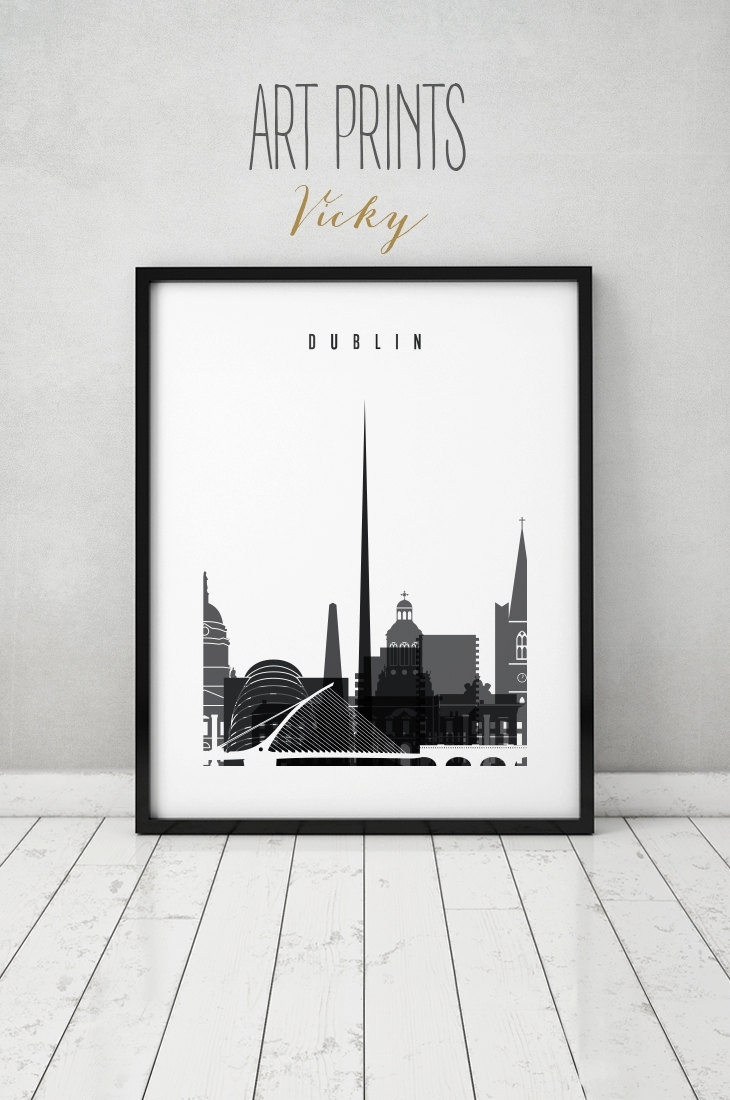 Dublin Art Print, Black & White, Poster, Minimalist, Dublin Pertaining To Newest Dublin Canvas Wall Art (View 9 of 15)