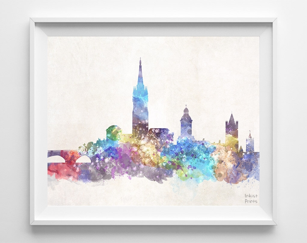 Dublin Skyline Print, Ireland Poster, Watercolor Painting, Giclee Throughout Most Current Dublin Canvas Wall Art (View 15 of 15)