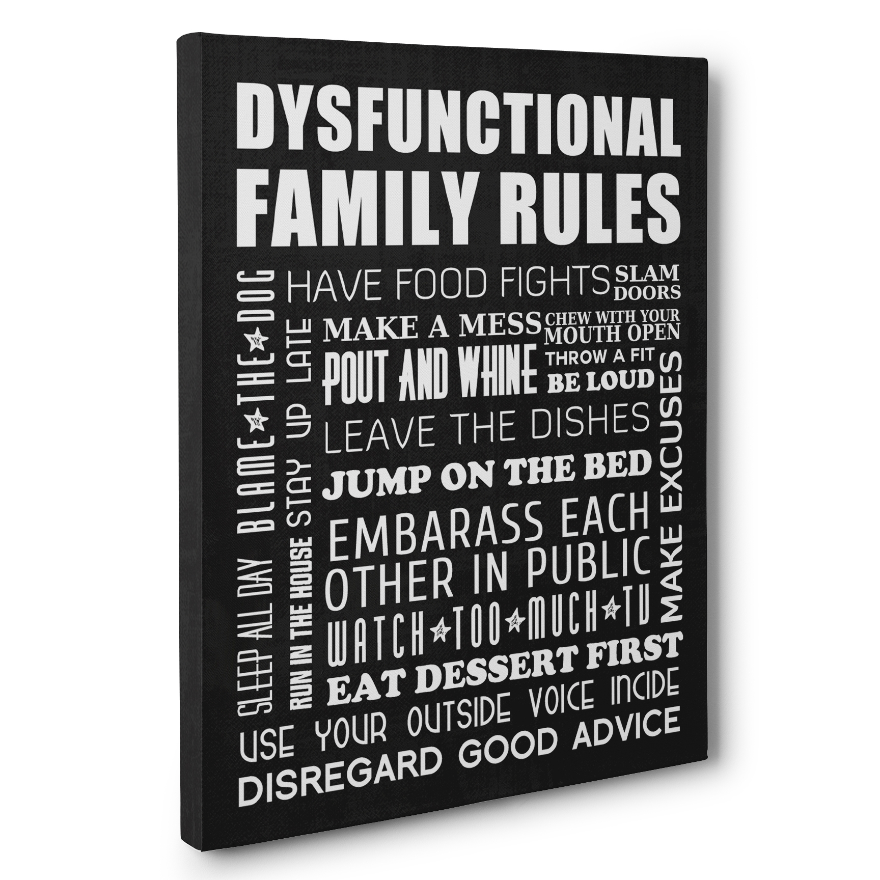 Dysfunctional Family Rules Home Décor Canvas Wall Art – Paper Blast Pertaining To Current Canvas Wall Art Family Rules (View 2 of 15)