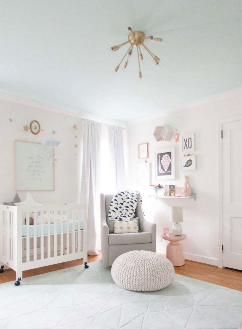 ? 33 Most Adorable Nursery Ideas For Your Baby Girl Throughout Current Girl Nursery Wall Accents (View 2 of 15)