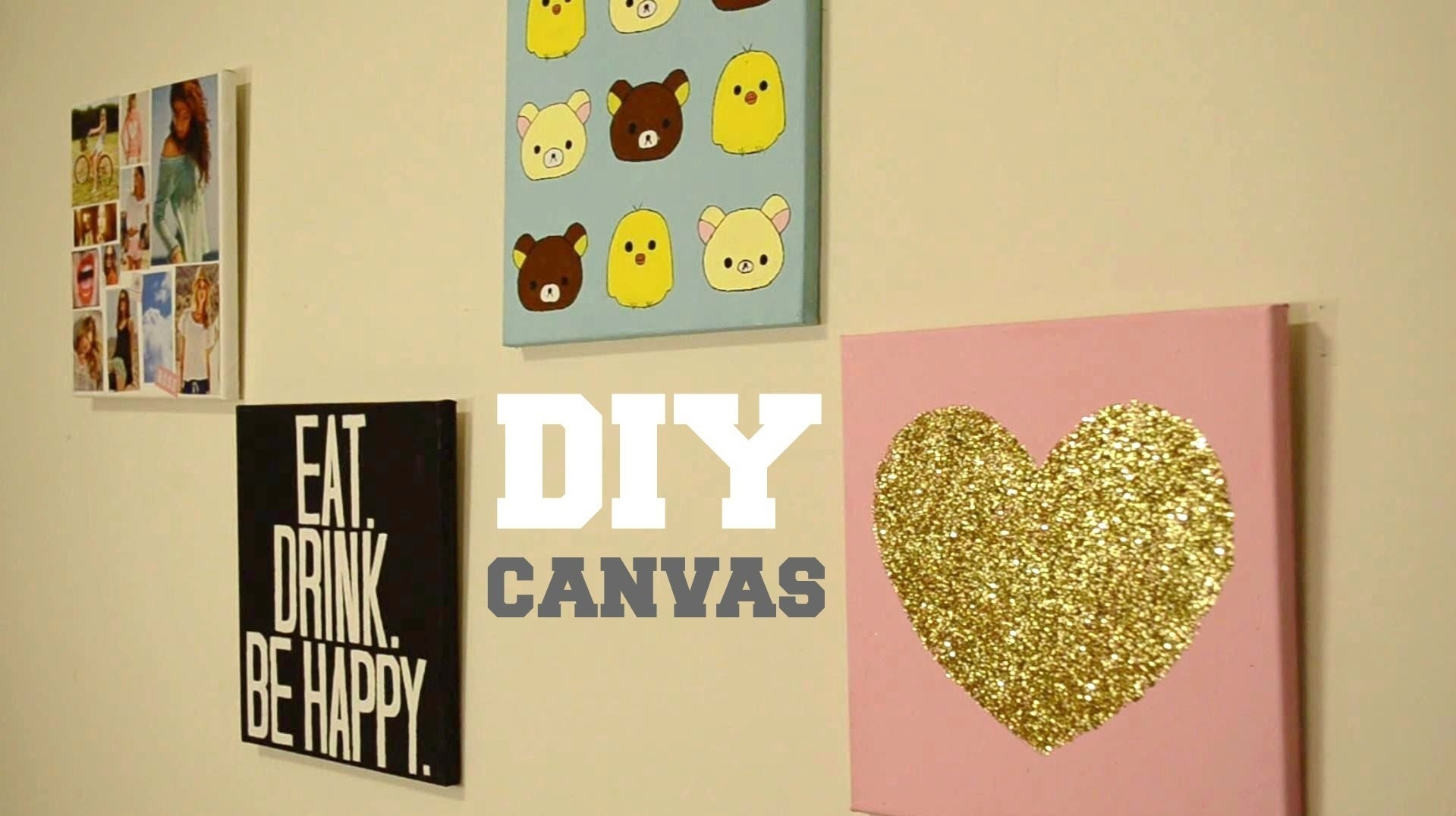 ? Diy Wall Decor: Custom Canvas – Youtube Within Current Diy Wall Accents (View 4 of 15)
