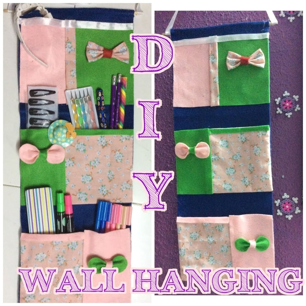 ? ? ? Diy  No Sew Pocket Wall Hangings 4 Stationeries Within Most Recently Released No Sew Fabric Wall Art (View 3 of 15)