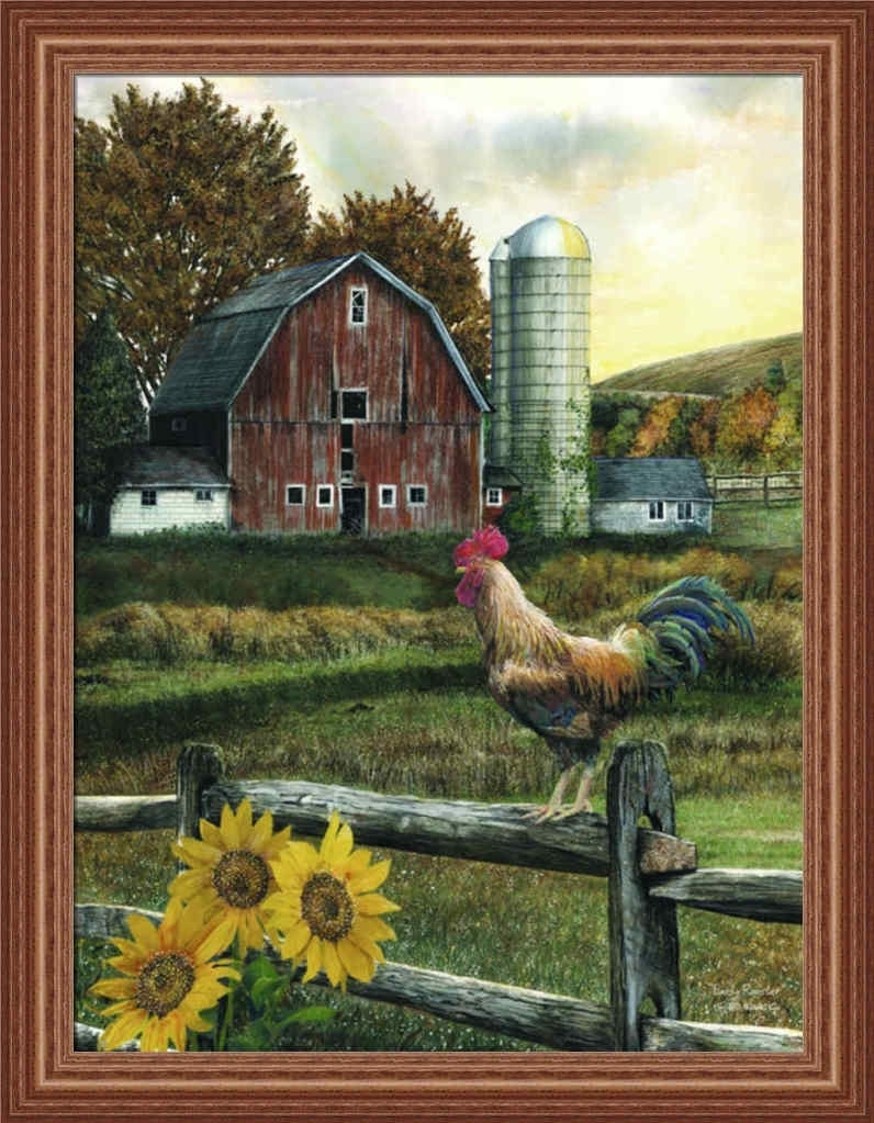Early Roostered Wargo Country Farm Red Barn Framed Art Print Intended For Most Up To Date Framed Country Art Prints (View 3 of 15)
