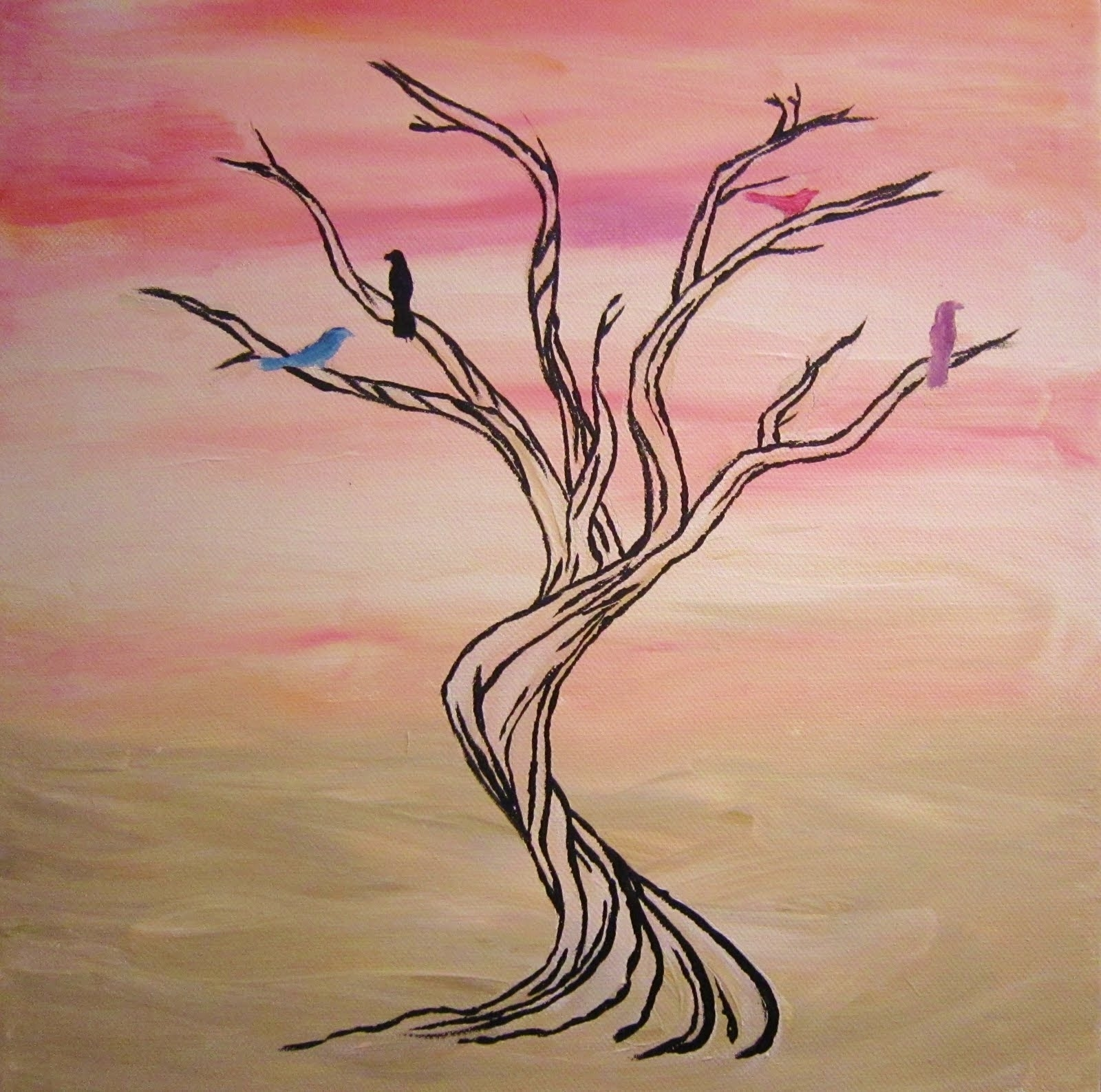 Easy Tree Paintings On Canvas | Tree Art, Pink And White, Wall Art Inside Recent New Zealand Canvas Wall Art (View 13 of 15)
