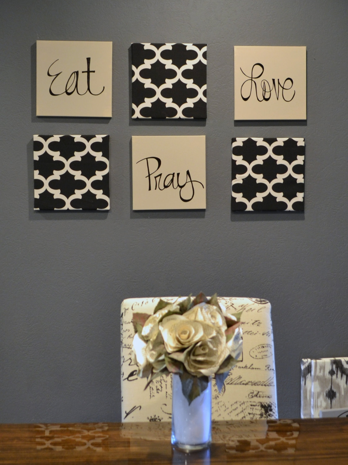 Eat Pray Love Wall Art Pack Of 6 Canvas Wall Hangings Hand Painted Throughout Most Recent Fabric Covered Squares Wall Art (Gallery 10 of 15)