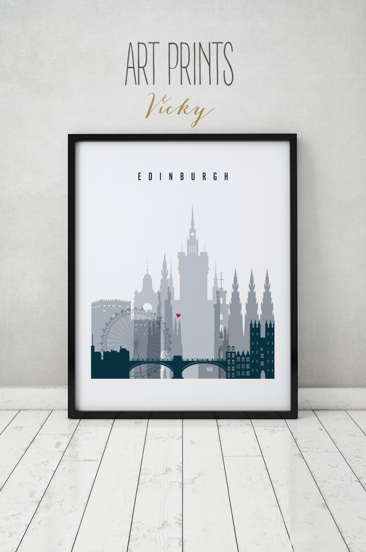 Edinburgh Art Print, Poster, Wall Art, Scotland Edinburgh Skyline Pertaining To Most Current Edinburgh Canvas Prints Wall Art (View 9 of 15)