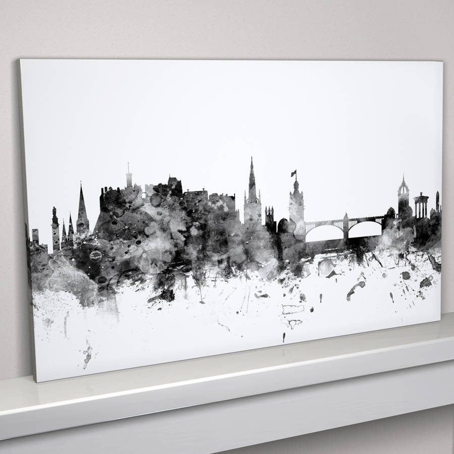 Edinburgh Skyline Cityscape Monochrome Art Printartpause For Latest Edinburgh Canvas Prints Wall Art (Gallery 7 of 15)