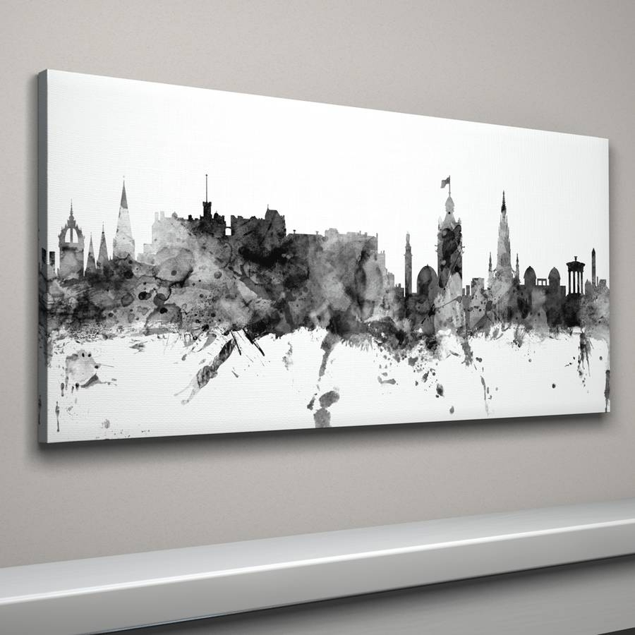 Edinburgh Skyline Cityscape Monochrome Art Printartpause Intended For Most Up To Date Edinburgh Canvas Prints Wall Art (View 3 of 15)