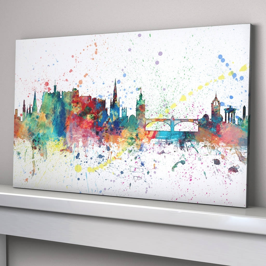 Edinburgh Skyline Cityscape Paint Splashes Printartpause Pertaining To Most Recently Released Edinburgh Canvas Prints Wall Art (View 10 of 15)