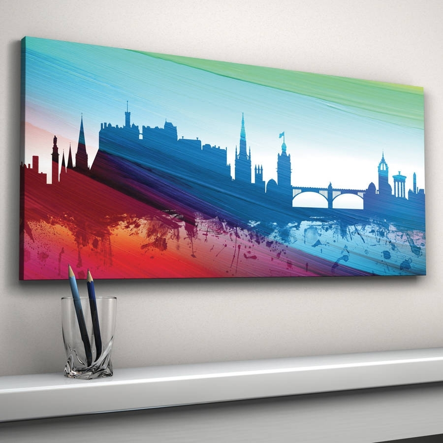 Edinburgh Skyline Cityscape Printartpause | Notonthehighstreet In Newest Edinburgh Canvas Prints Wall Art (View 11 of 15)