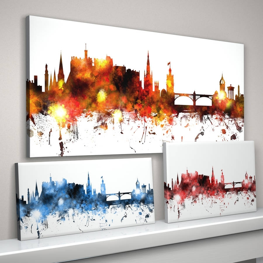 Edinburgh Skyline Cityscapeartpause | Notonthehighstreet Regarding Most Popular Glasgow Canvas Wall Art (View 3 of 15)