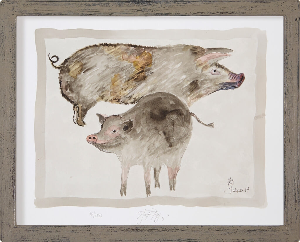 """Edition Print Of Jacques Pepin's Original Animal Art """"Pigs"""" For Intended For Current Framed Animal Art Prints (View 6 of 15)"""