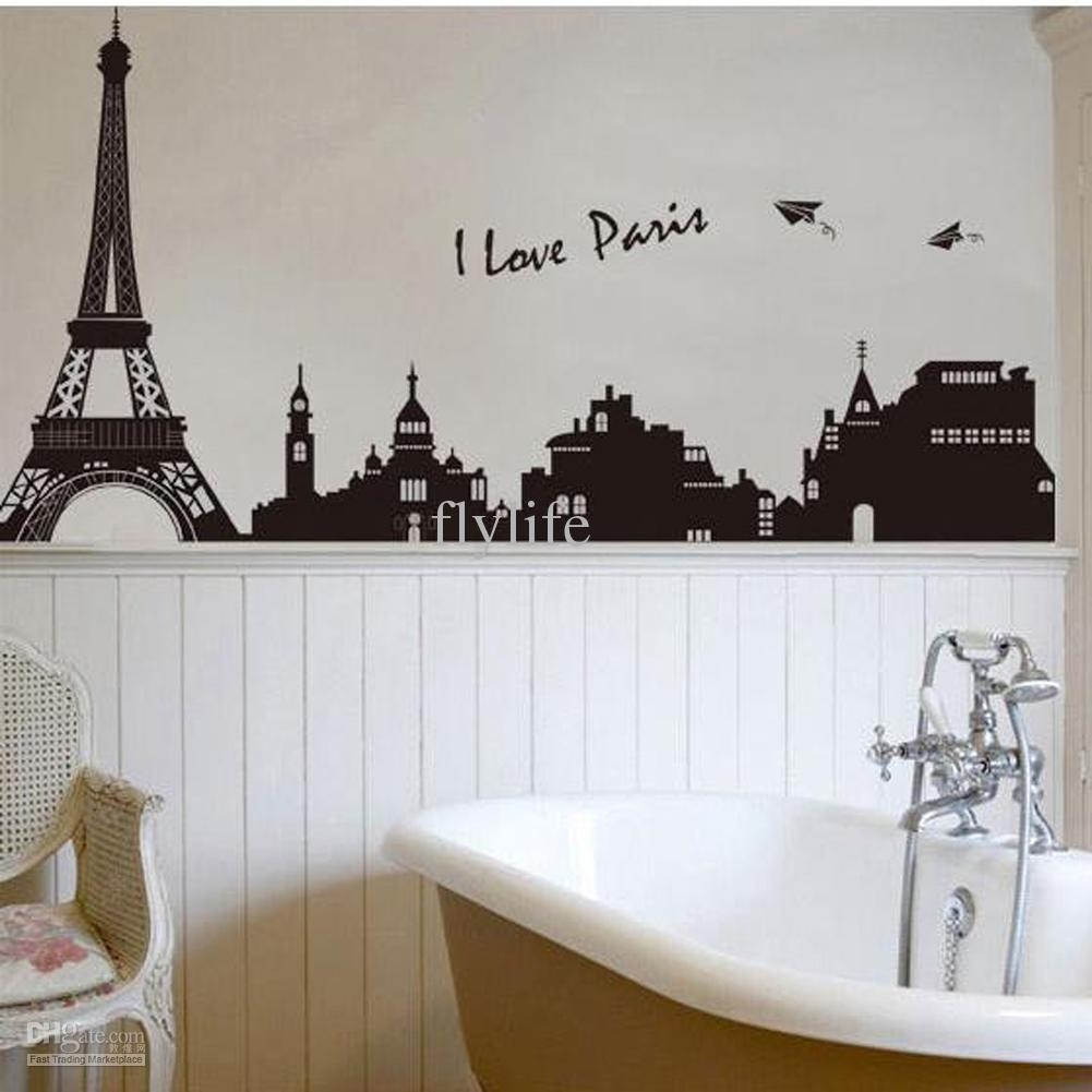Eiffel Tower Building In Romantic Pairs, Large Black Art Wall With Regard To Most Current Fabric Wall Art Stickers (Gallery 15 of 15)