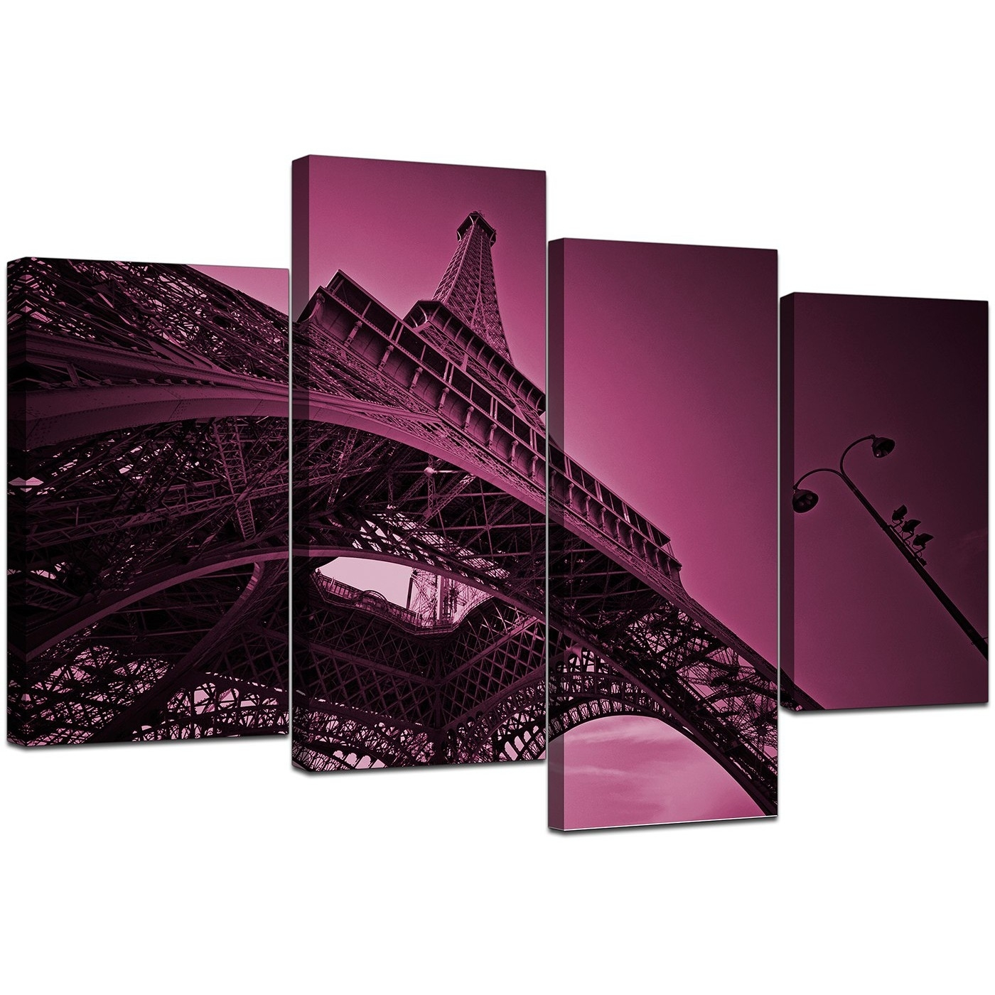 Eiffel Tower Canvas Wall Art In Plum – For Bedroom Regarding Most Recent Eiffel Tower Canvas Wall Art (View 5 of 15)