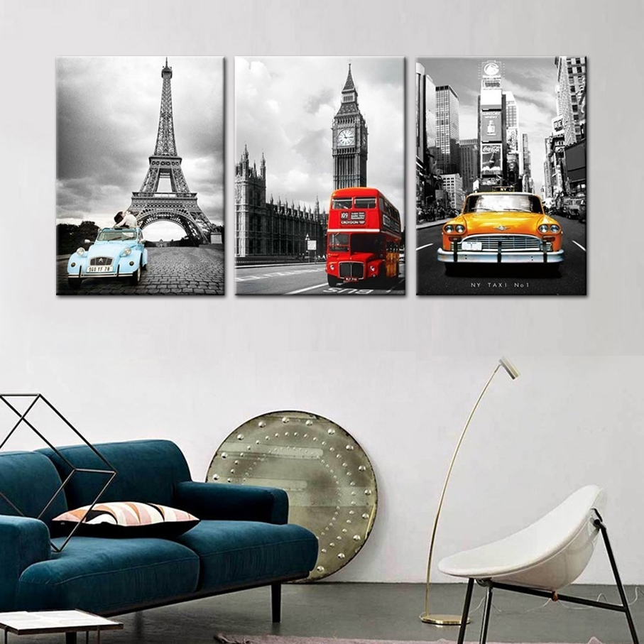 Eiffel Tower In New York Modular Photo 3 Wall Panels Canvas Prints Inside Most Popular Eiffel Tower Canvas Wall Art (View 6 of 15)
