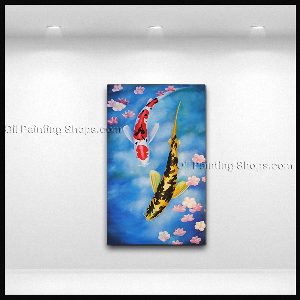 Elegant Feng Shui Zen Art Contemporary Painting Koi Fish Oil On Canvas Inside Most Current Koi Canvas Wall Art (View 8 of 15)