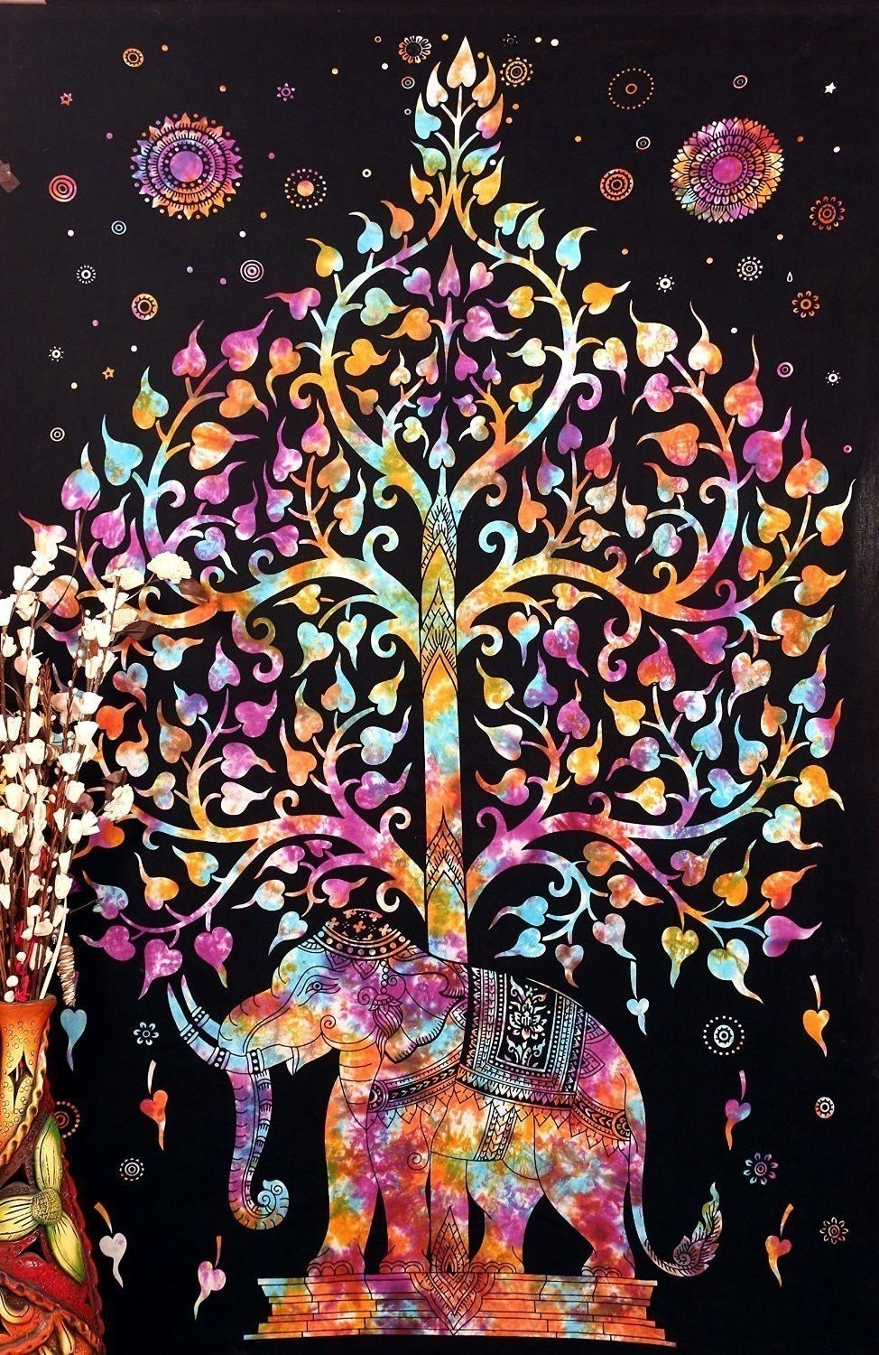 Elephant Kayso Tree Of Life Bohemian Tapestry Psychedelic Wall In Recent Indian Fabric Art Wall Hangings (View 7 of 15)