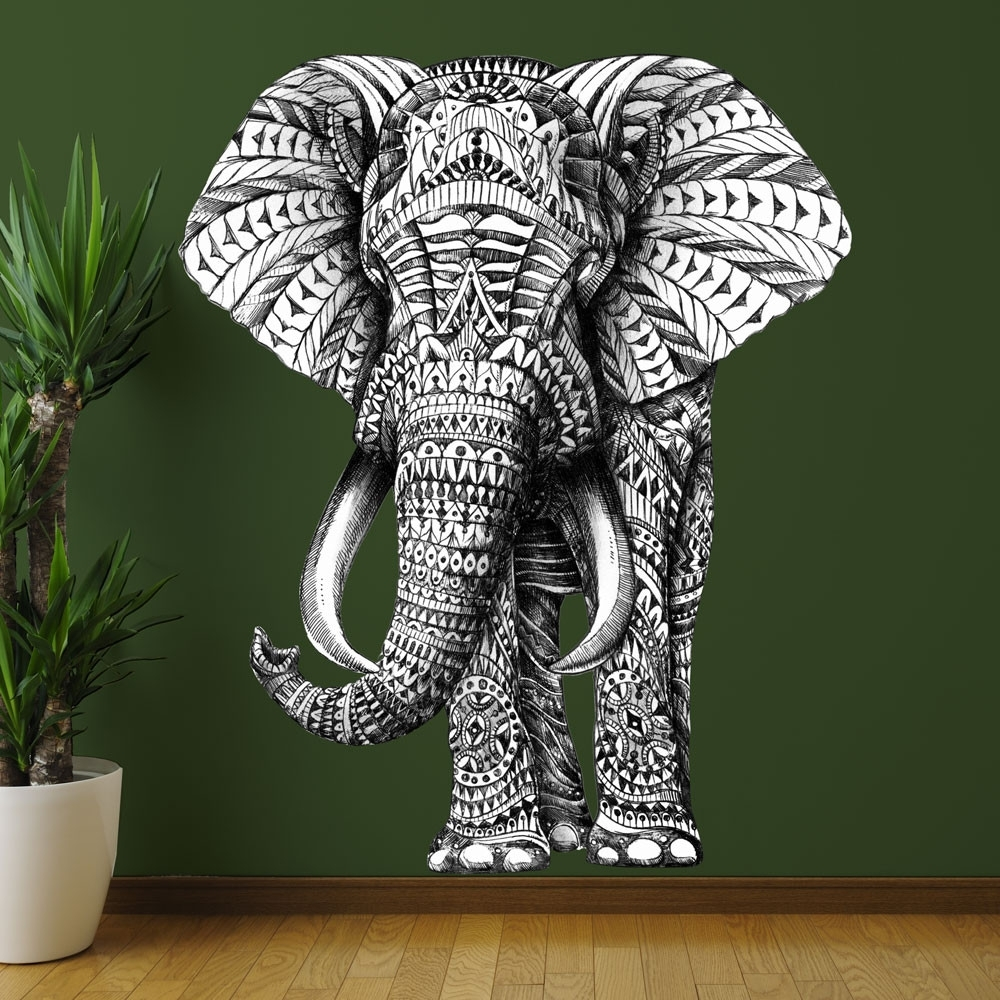 Elephant Wall Sticker Decal – Ornate Jungle Animal Artbioworkz With Regard To Most Popular Elephant Fabric Wall Art (Gallery 3 of 15)