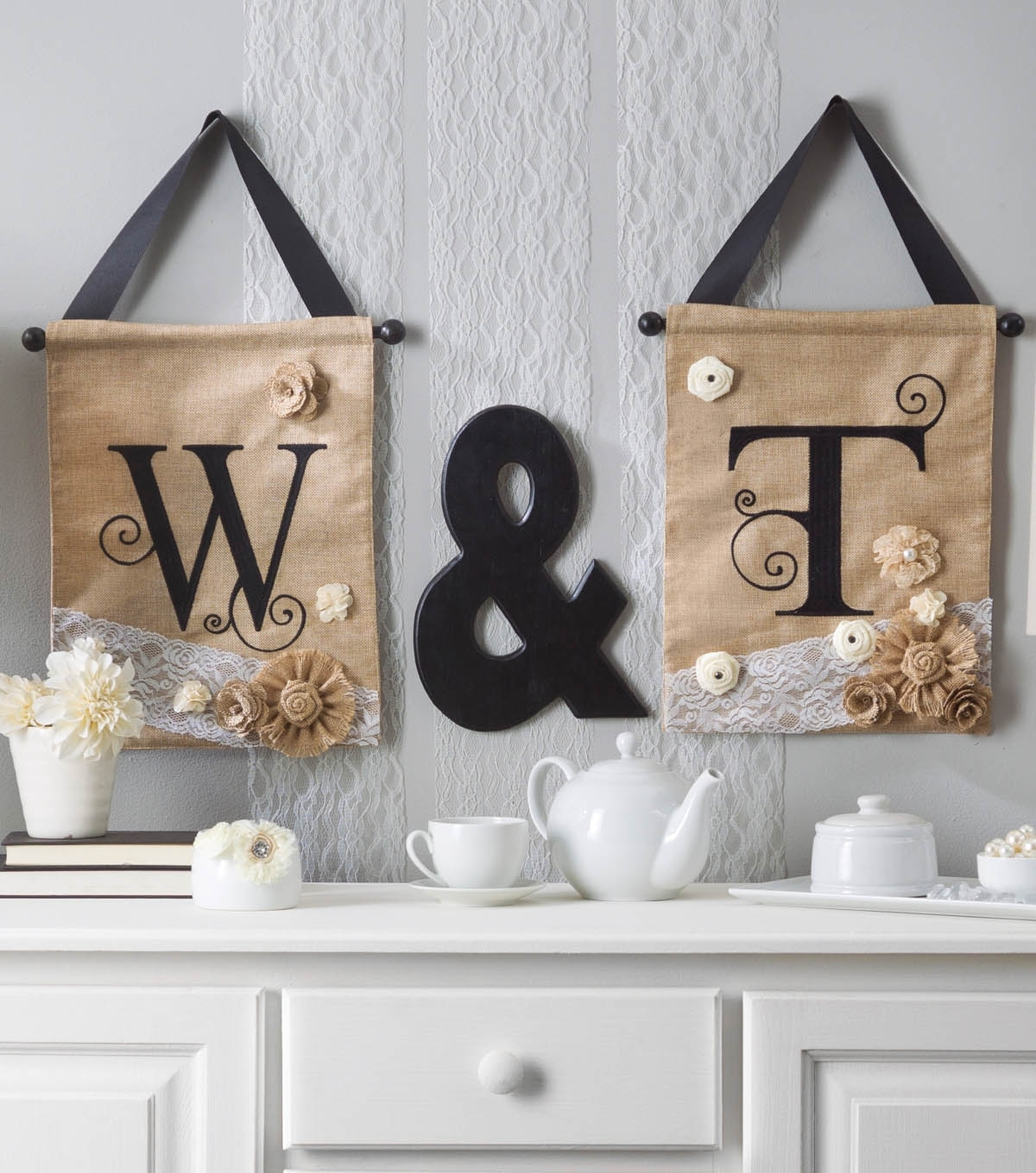 Embellished Initial Letters On Burlap Wall Hangings | Joann Pertaining To Most Recent Joann Fabric Wall Art (View 1 of 15)