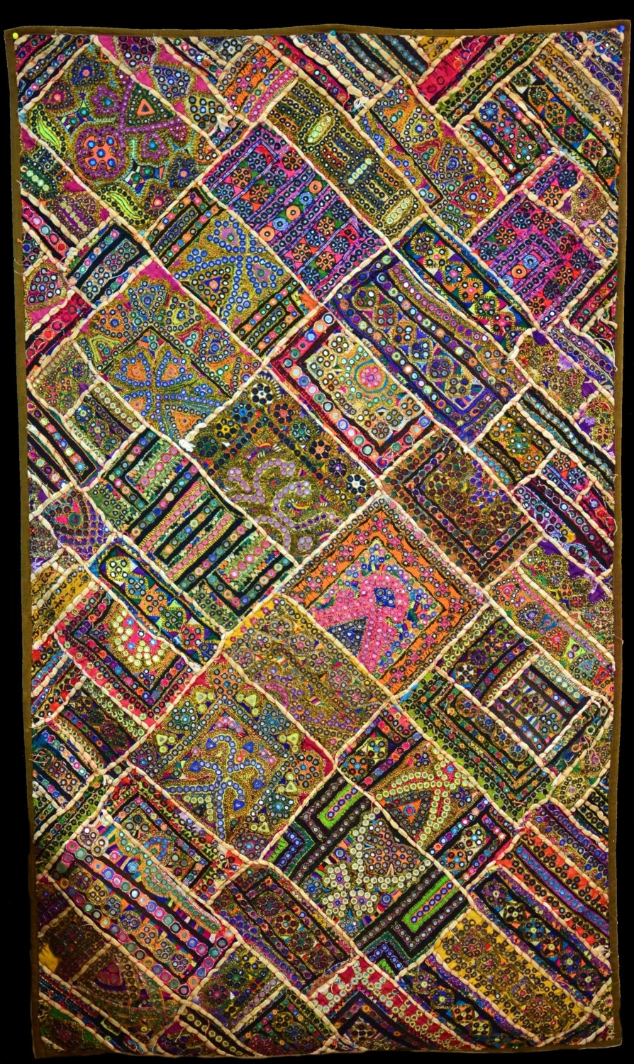 Embroidered Sindhi Patchwork Decorative Wall Decor,unique Decor In Current Handmade Textile Wall Art (View 6 of 15)