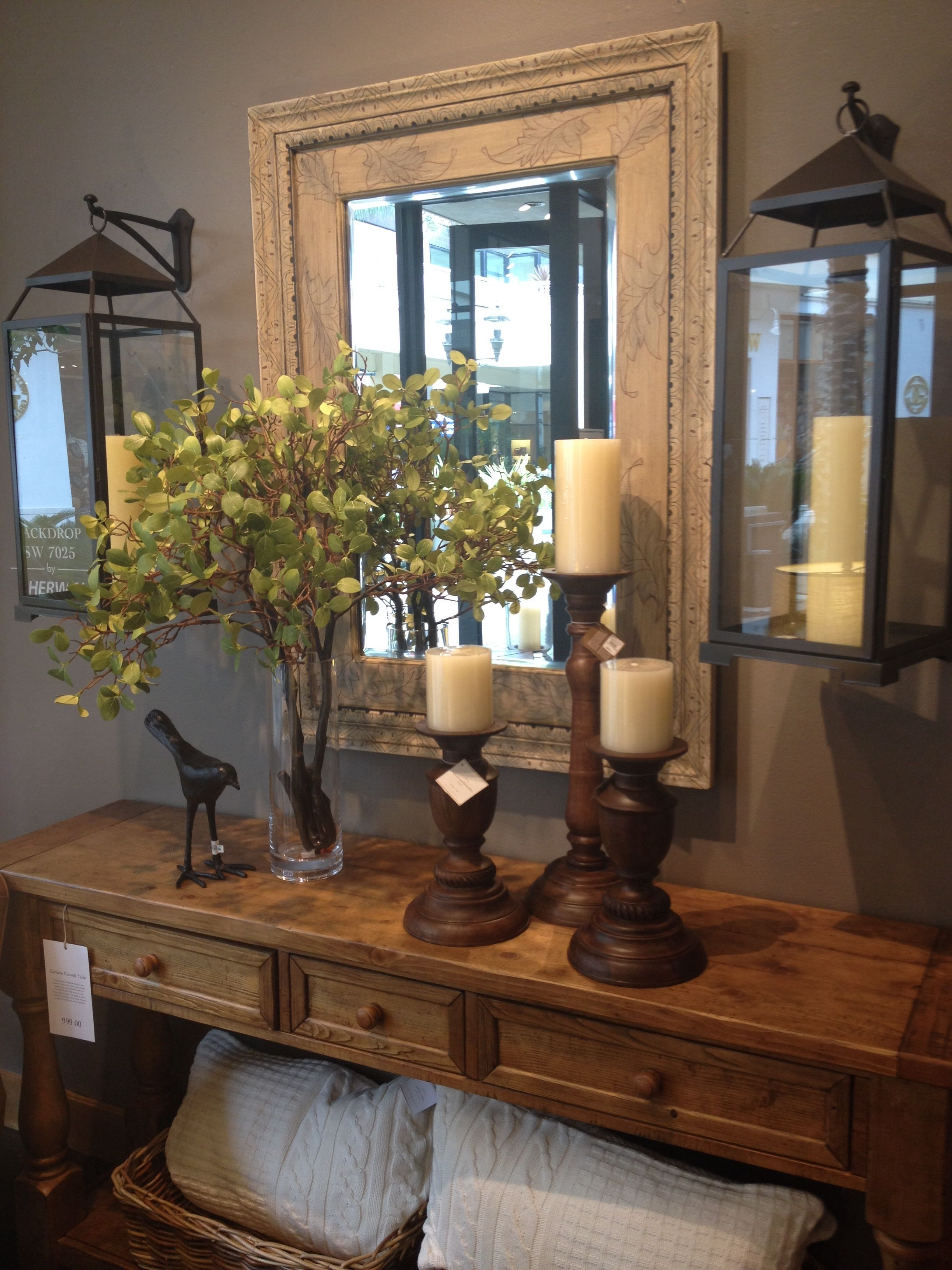 Entry Table! Love The Hanging Lanterns! | Country Decor For Best And Newest Entrance Wall Accents (View 13 of 15)