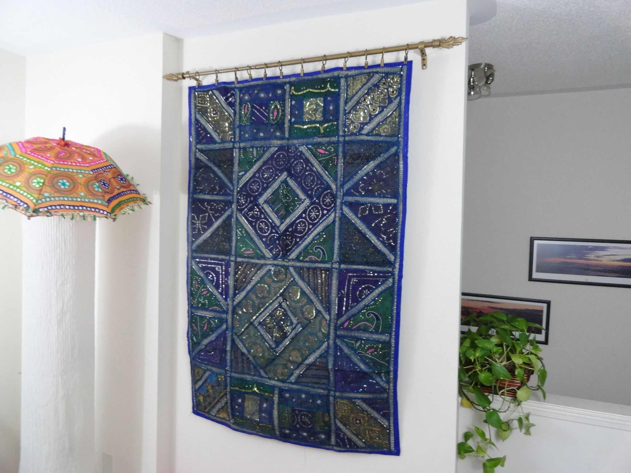 "Ethnic Wall Tapestry. Home Decor Idea ""blue Ganges"" Fabric Wall With Newest Indian Fabric Art Wall Hangings (Gallery 9 of 15)"